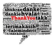 不同的语言感谢您 库存照片