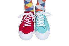 不同的运动鞋和袜子 库存图片