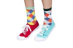 不同的运动鞋和袜子 图库摄影