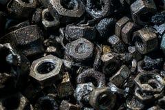 不同的金属螺栓和坚果细节  库存照片