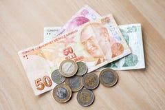 不同的钞票和硬币 土耳其全国金钱 库存照片
