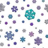不同的雪花无接缝的纹理在白色背景的 免版税库存照片