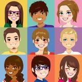 不同的青年人面孔 向量例证