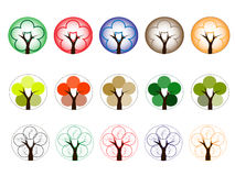 不同的颜色树  库存例证
