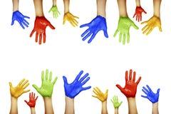 不同的颜色的手 免版税库存图片