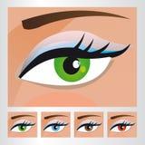 不同的颜色的妇女眼睛 免版税库存图片