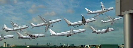 不同的飞机从机场起飞 图库摄影