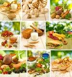不同的食物的混合:蔬菜、水果、三明治、牛奶、蛋糕和其他成份特写镜头 库存图片