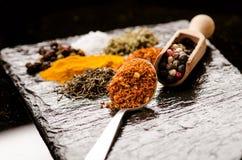 不同的香料和草本在黑板岩 铁匙子用辣椒 印第安香料 烹调的成份 吃健康 免版税库存图片