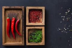 不同的香料和辣椒在木箱在黑暗的背景,顶视图,拷贝空间 库存图片