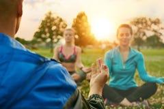 不同的millennials瑜伽类在草的在日落在自然公园 免版税库存照片