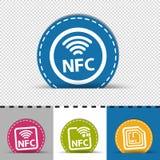 不同的NFC象-四个五颜六色的圆的按钮-在透明和单色背景-隔绝的传染媒介例证 向量例证