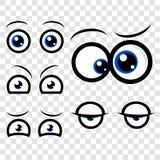 5不同眼睛表示好奇困急切热切混淆恼怒在透明作用背景 皇族释放例证