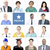 不同种族的混杂的职业人民画象  库存照片
