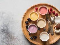 不同颜色新鲜的莓果冰淇淋在纸杯和各种各样的莓果的在灰色背景的圆材盘子 r 库存图片