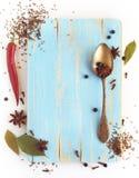 不同香料、茴香、月桂树,丁香和其他在切板 免版税库存图片