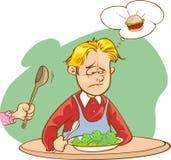 不喜欢菜的孩子 库存图片