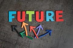 不定的未来或下个企业目标概念,五颜六色木 免版税库存照片