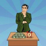 不定的生意人 money time 流行艺术 免版税库存图片