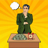 不定的生意人 money time 流行艺术 库存图片