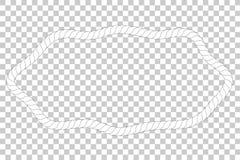不对称的卵形形状,从白色绳索的框架您的在透明作用背景的元素设计的 皇族释放例证