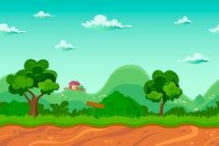 不尽的村庄背景,无缝的动画片风景 库存照片