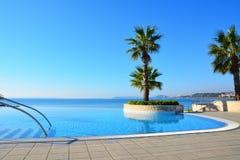 不尽的游泳池nd棕榈树 库存照片