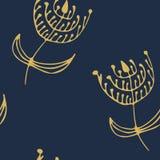 不尽的花卉模式 深蓝色和金黄 免版税库存照片
