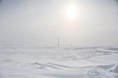 不尽的雪原 库存照片