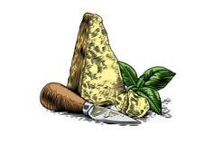 不幸片断与乳酪刀子和绿色蓬蒿的 向量例证