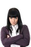 不快乐的妇女的恼怒的被注重的联邦机关有坏态度的 库存照片