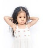 不快乐的小女孩画象  库存照片