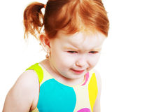 不快乐的小女孩 图库摄影