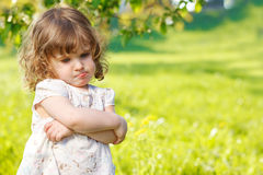 不快乐的小孩 免版税库存照片