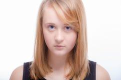 不快乐的少年青少年的女孩 免版税库存照片