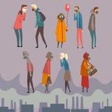 不快乐的男人、戴着防毒面具的妇女和孩子走在城市,从空气污染的人痛苦 向量例证