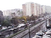不愉快的经历,雪在布加勒斯特 免版税库存图片