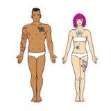 不拘形式的tatooed男人和妇女传染媒介 免版税库存照片