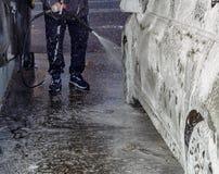 不接触的洗车,泡沫,压力,自助 免版税图库摄影