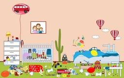 不整洁的孩子和杂乱室 孩子疏散玩具和衣物 两个小男孩居住的室 混乱在房子里 免版税图库摄影