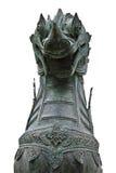 不显现表情的脸狮子雕塑 免版税库存照片