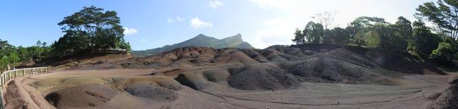 不活泼的火山的一幅全景在Mairitius的 图库摄影