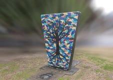 不生叶的树和五颜六色的背景在艺术停放,深Ellum,达拉斯,得克萨斯 免版税库存照片