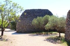 不用灰泥只用石块构造的小屋,法国人Bories村庄,戈尔代 库存图片