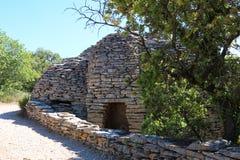 不用灰泥只用石块构造的小屋, Bories村庄,戈尔代,法国 库存图片