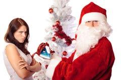 不相当满意对圣诞节礼物 免版税库存照片