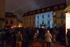 不眠夜-当代艺术节日在布拉索夫,斯洛伐克, 免版税库存图片
