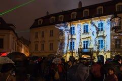 不眠夜-当代艺术节日在布拉索夫,斯洛伐克, 库存图片