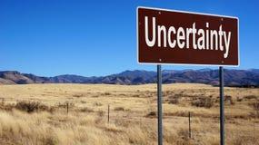 不确定性棕色路标 免版税库存照片