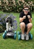 不能分离的朋友、男孩和他的狗 库存图片